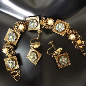 Vintage Victorian Style Link Bracelet & Earrings